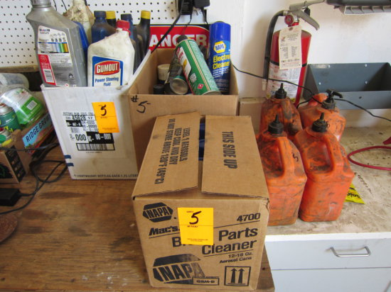 LOT OF ASSORTED OIL AND AUTOMOTIVE CLEANERS