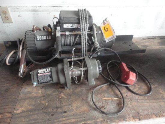 9000# ELECTRIC WINCH W/TRAILER RECEIVER MOUNT & 3000# ATV WINCH