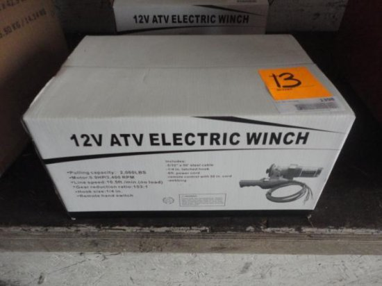 2000# 12 VOLT ELECTRIC ATV WINCH (NEW)