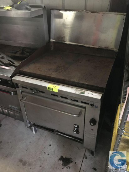 "36"" Montague 136-8T (ser #18-D-44242H) gas griddle top with broiler oven"
