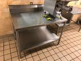 4' x 2-1/2' stainless steel table with backsplash and undershelf