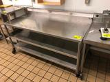 6' x 2-1/2' portable stainless steel table with backsplash and dual undershelf