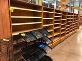 (1) 8' and (7) 3' sections of bamboo core plywood merchandisers with maple shelves and lower drawers