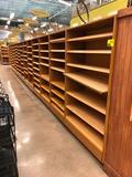 (1) 4' and (13) 3' sections of bamboo core plywood merchandisers with maple shelves & lower drawers