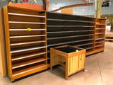 20' Madix wall shelving with (2) wood sections and wood base, 84