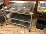 4' x 2' portable stainless steel table with backsplash and dual undershelf