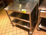 3' x 2' portable stainless steel table with dual undershelf