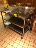4' x 2' stainless steel table with backsplash and dual undershelf