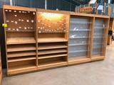 (2) 4' and (2) 3' sections of bamboo core plywood merchandisers with maple shelves