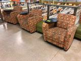 Cushioned arm chairs with rotating platform