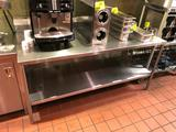 6' x 2-1/2' stainless steel table with backsplash and undershelf