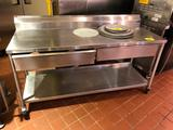 6' x 2' portable stainless steel table with backsplash, drawer, and undershelf