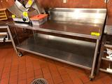 6' x 2-1/2' portable stainless steel table with backsplash and undershelf