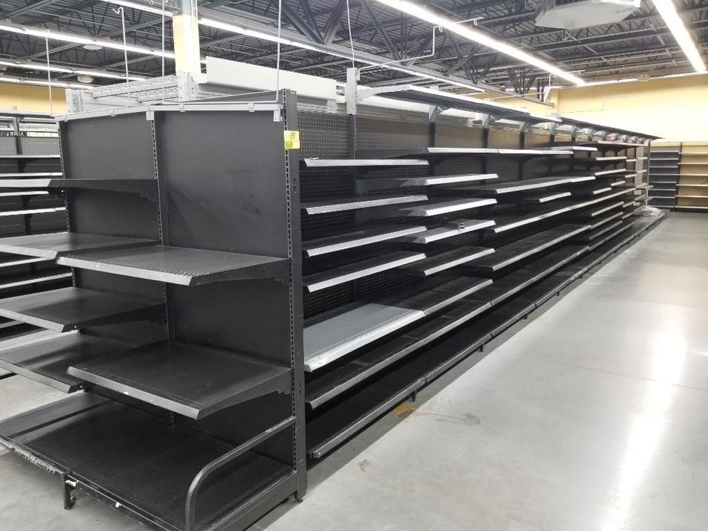 Lot: 58' Walmart Lozier black powder coated wall shelving