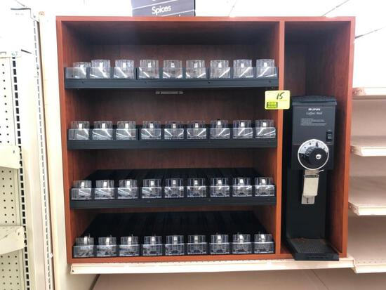 Bunn G3HD BLK (ser #G300075312) coffee grinder with 4' wood coffee display rack and product pusher