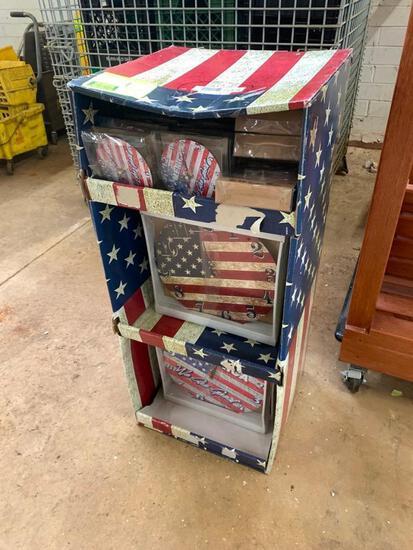 "Patriotic merchandiser with (1) 12"" and (1) 5"" clocks"