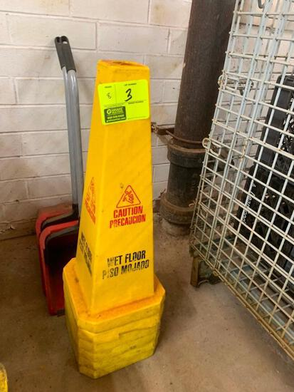 (6) Wet floor signs and (2) dust pans