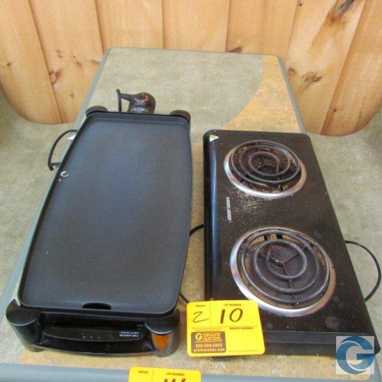 Black & Decker 2-burner tabletop electric range and Bella tabletop electric griddle