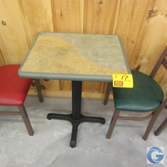 "20"" x 24"" green laminated pedestal tables"