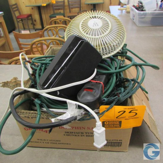 Misc. items including fan, speaker, Christmas lights, and extension cord