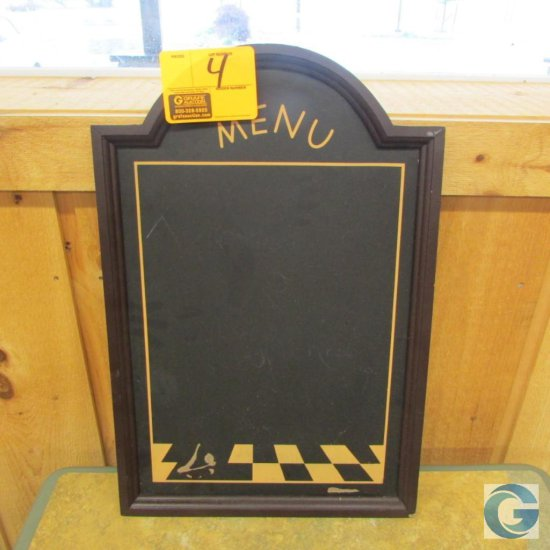 "16"" x 24"" wood framed chalk board menu"