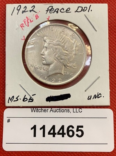 1922 Peace Dollar (MS-65 Unc.)