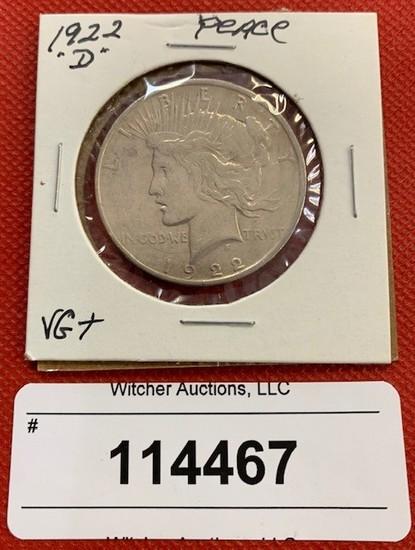 """1922 """"D"""" Peace Dollar VG+"""