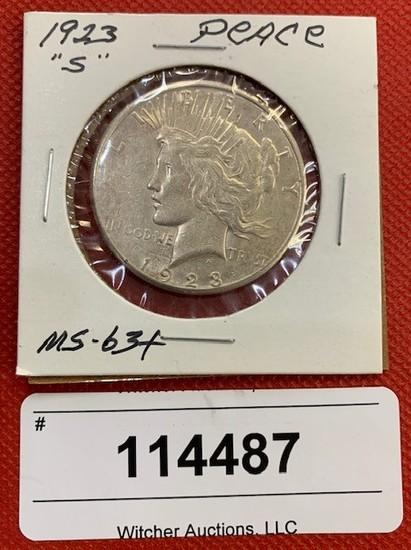"1923 ""S"" Peace Dollar (MS-63+)"