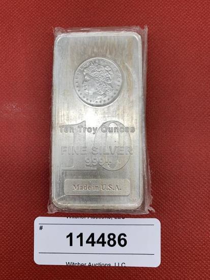 Ten Troy Ounces of .999+ Fine Silver Bar