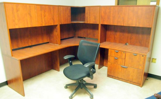 Oak corner executive desk