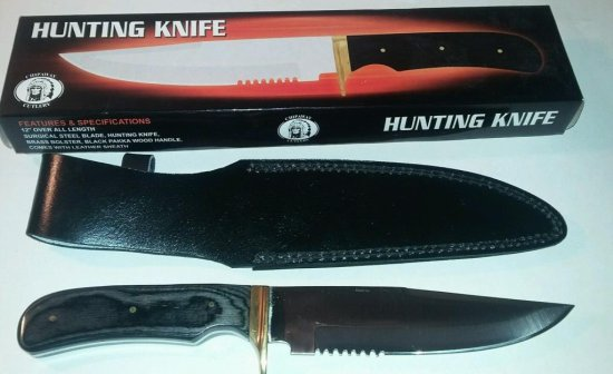 "CHIPAWAY 12"" BLACK WOOD HUNTING KNIFE"