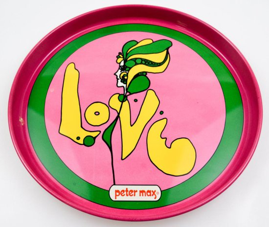 "Vintage Iconic Peter Max Tray - ""LOVE"""