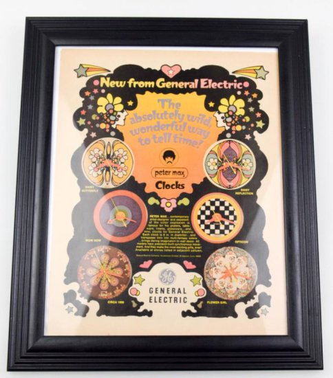 Vintage General Electric/Peter Max Framed Clock Advertisement