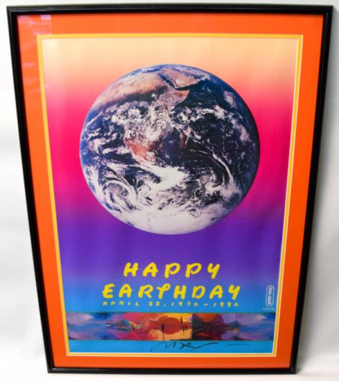 Vintage Signed Peter Max Earth Day Framed Poster