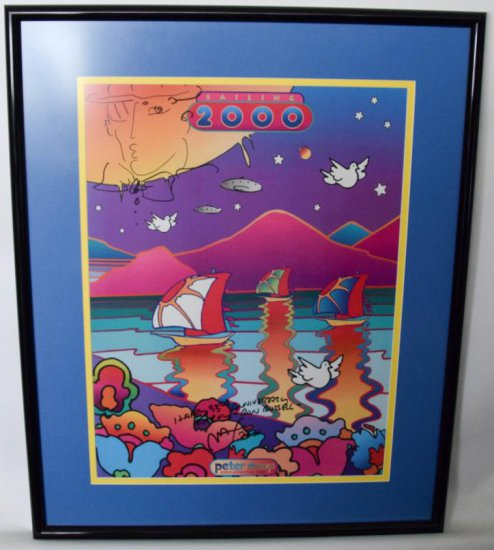 "Peter Max Hand Signed ""Sailing 2000"" Framed Poster"