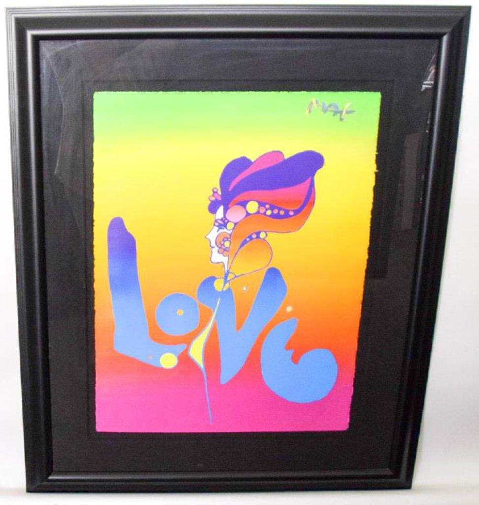 """Peter Max Signed """"LOVE VER. III #1 2002"""" Framed Artwork"""