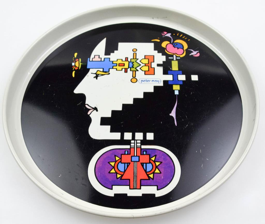 Vintage Peter Max Geometric Man Profile Tray