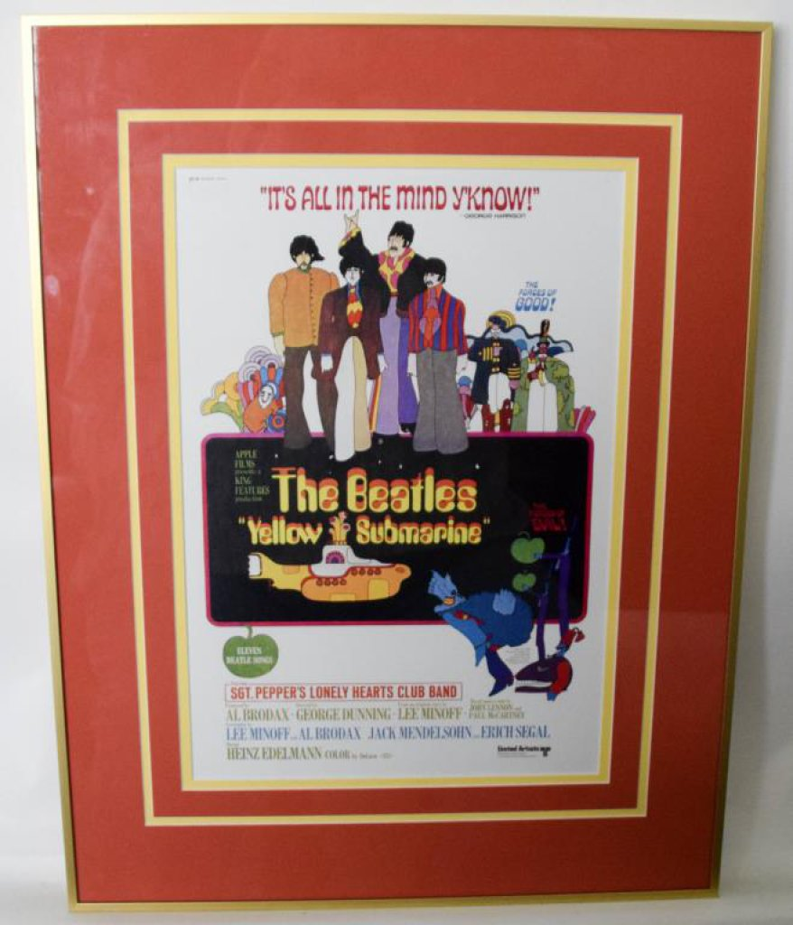 """Yellow Submarine"" Framed Beatles Window Poster"