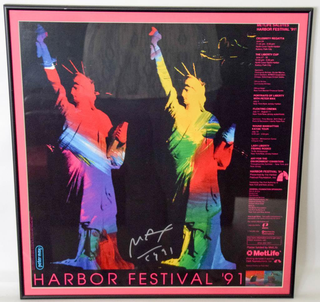 Peter Max Signed Harbor Festival '91 Framed Poster