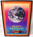 Vintage Signed Peter Max Earth Day Framed Poster