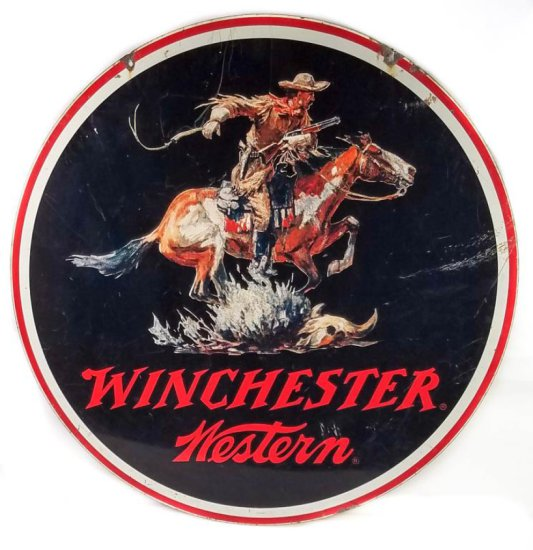 "Winchester-Western ""Rider"" double sided porcelain sign"