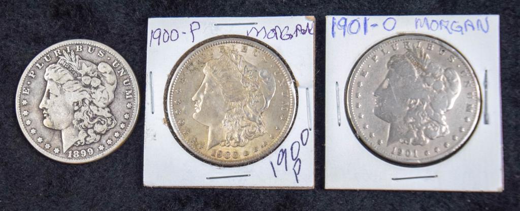 3 Morgan Silver Dollars