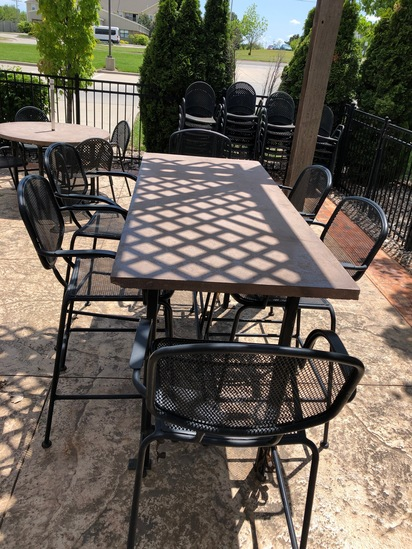 "30""X72"" tall bar table with 6 bar stools"