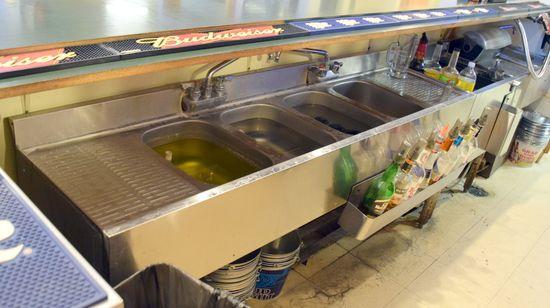 6' s/s 4 comp under bar sink