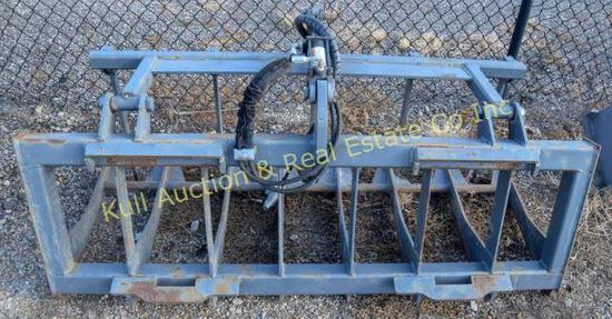 Hydraulic grapple bucket with quick connect