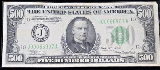 1934 A Series $500 Federal Reserve Note