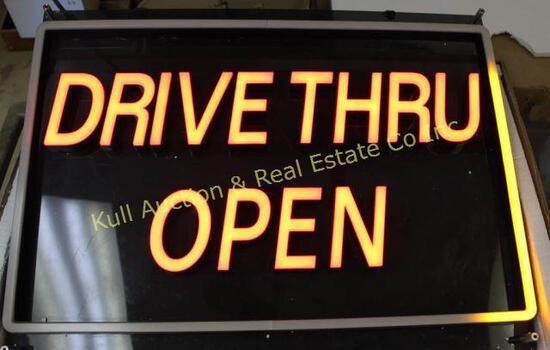 """24""""x32""""x3"""" lighted """"Drive Thru Open"""" sign"""