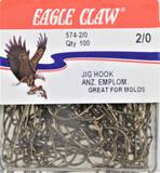 (10) 100 ct packs (1000) total Eagle Claw 574 Jig Hooks - Size 2/0