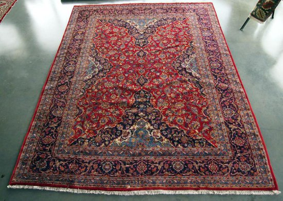 Indo-Mashad Red/Navy Rug