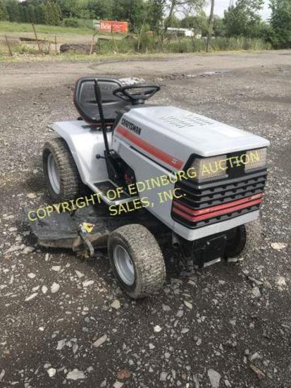 GREY CRAFTSMAN RIDING MOWER RUNS/MOVES.***KEY IS IN OFFICE